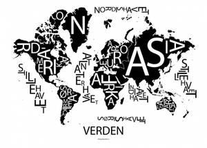 Bilde av Verden plakat sort